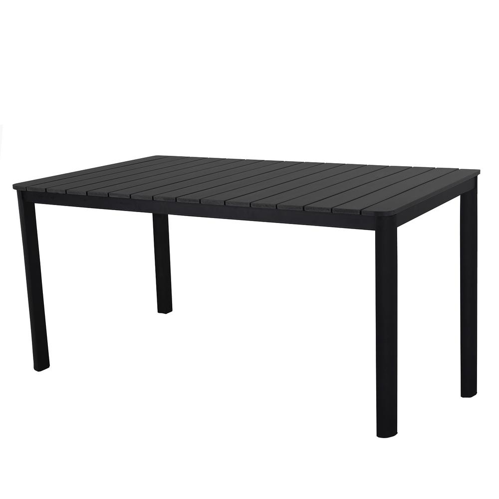 Rectangular Faux Wood Slatted Indoor And Outdoor Steel Black Dining Table