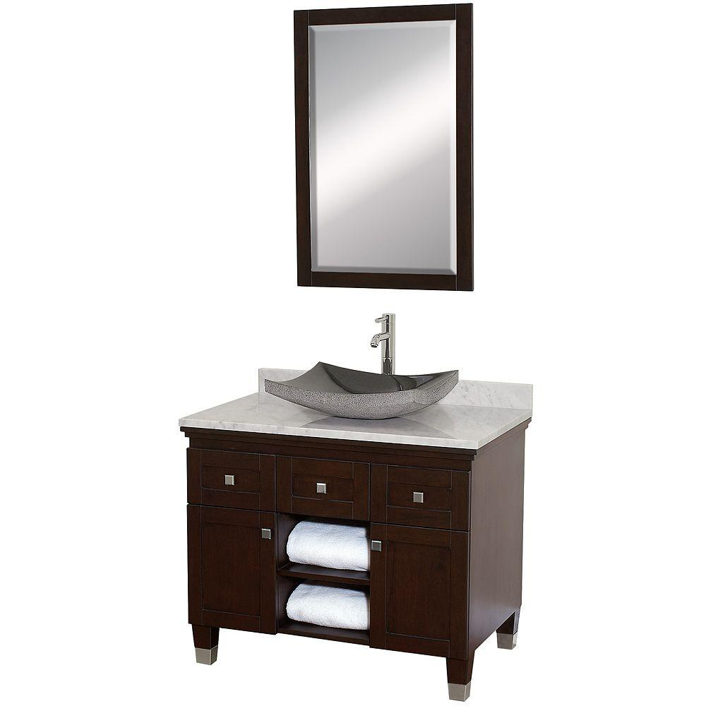 Wyndham Collection Premiere 36 In. Vanity In Espresso With Marble Vanity Top  In Carrara White