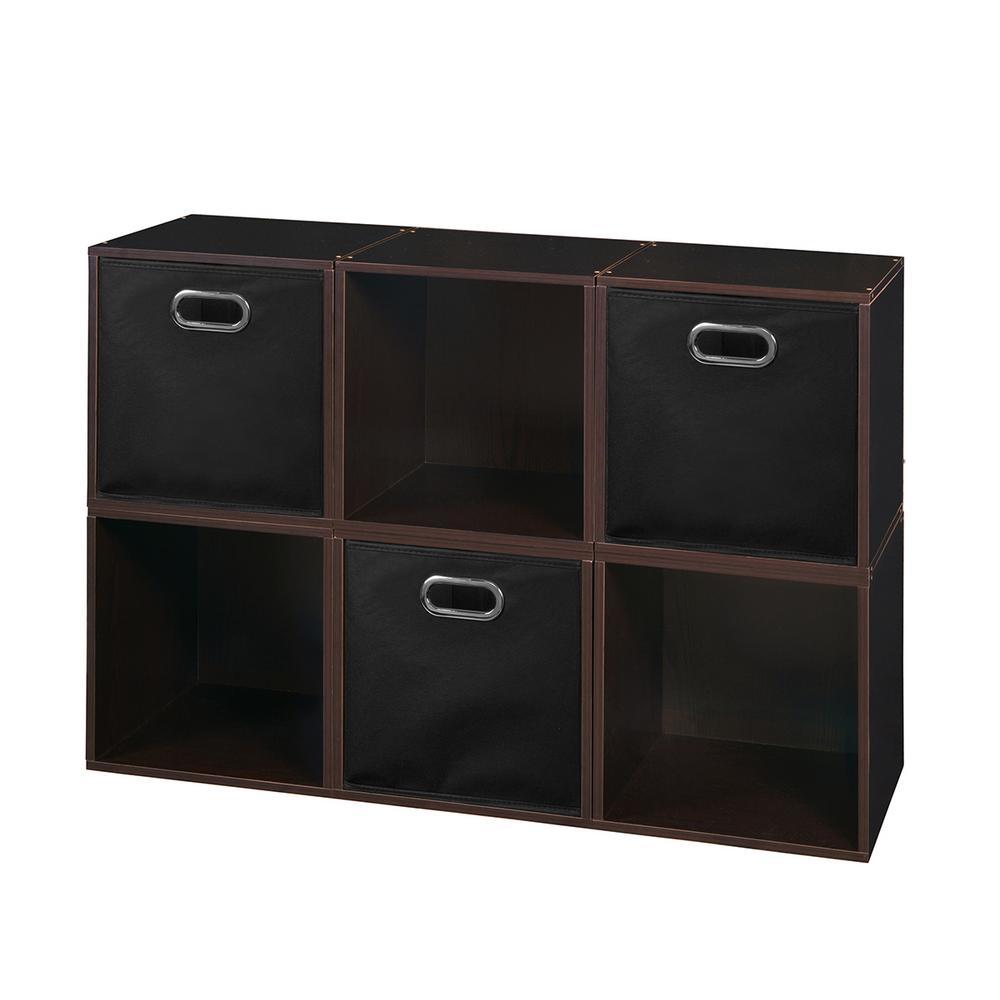 Cubo 26 in. H x 39 in. W Truffle/Black 6-Cube and 3-Bin Organizer