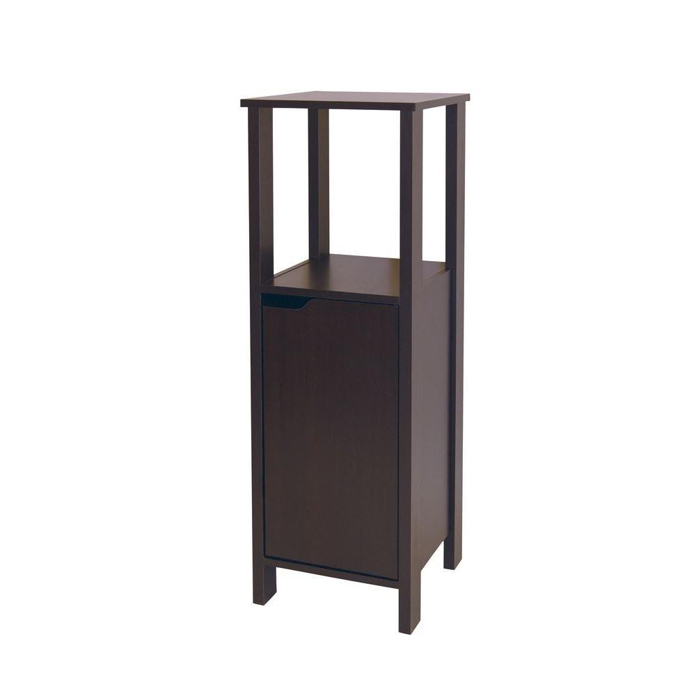 Ambassador 14-3/25 in. W x 39-3/10 in. H x 14-3/25 in. D Bathroom Linen Storage Floor Bath Cabinet in Espresso