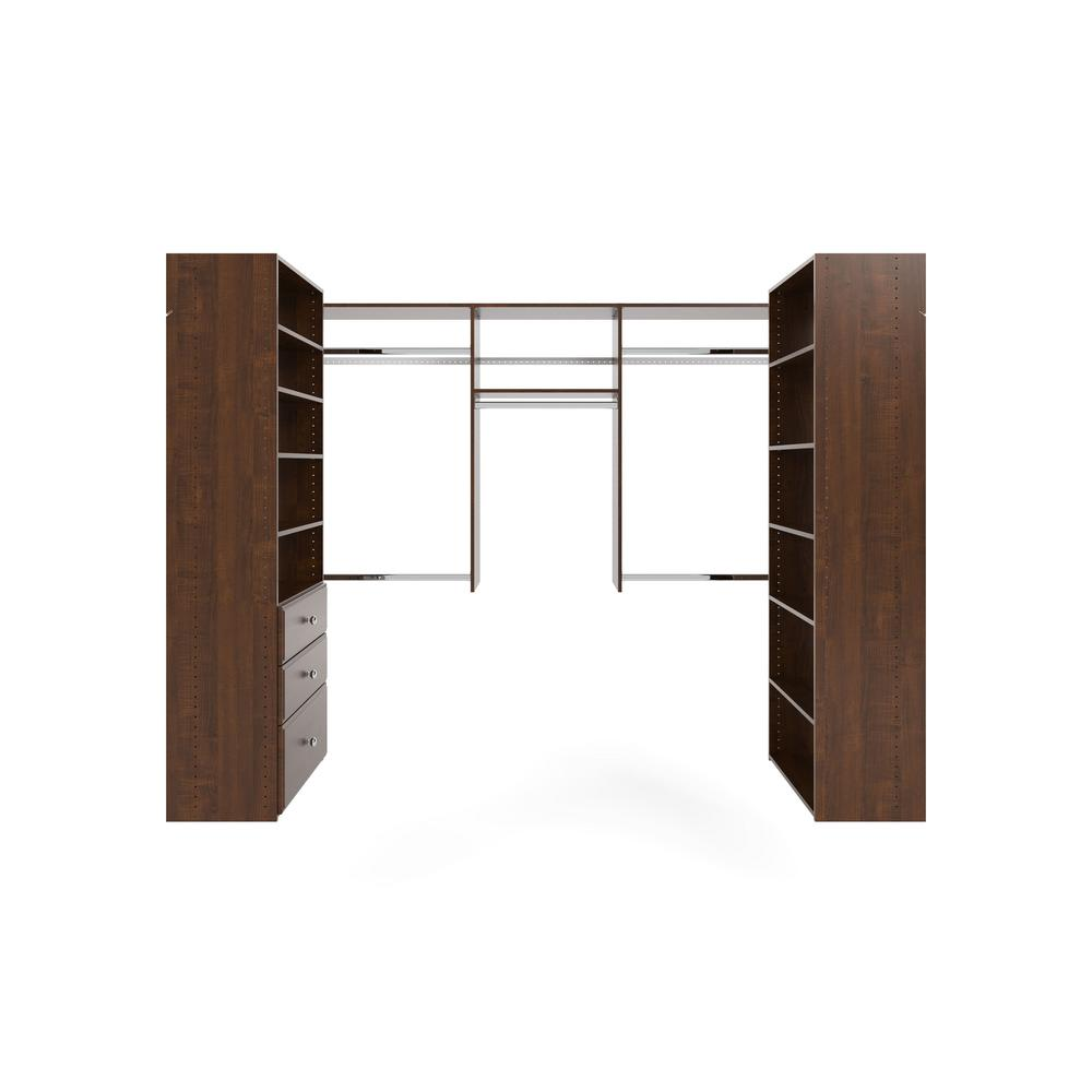 Closet Evolution 60 in. W - 96 in. W Espresso U-Shaped Wood Closet System