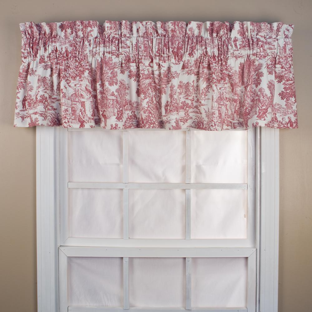 incredible Ellis Valance Part - 17: Ellis Curtain Victoria Park Toile 12 in. L Cotton Tailored Valance in Red