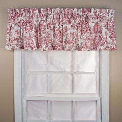 Victoria Park Toile 12 in. L Cotton Tailored Valance in Red
