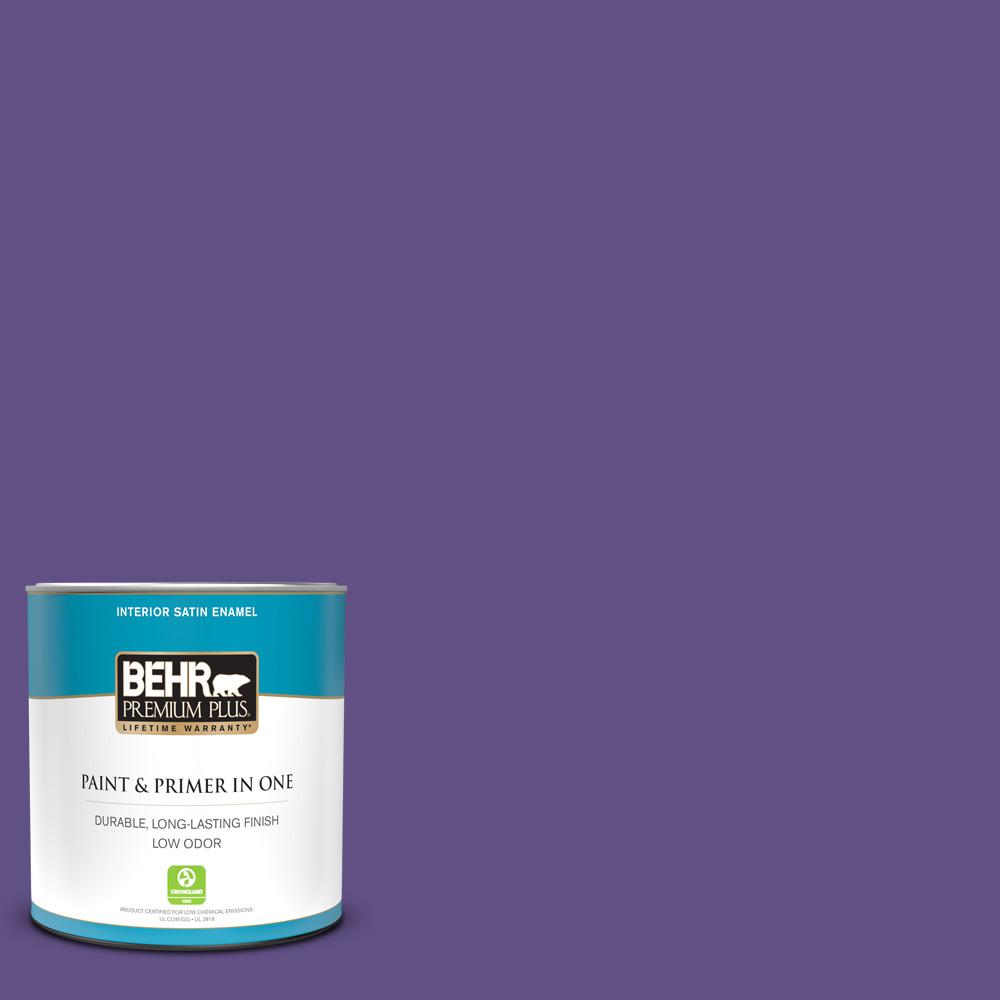 Behr Premium Plus 1 Qt 640b 7 Berry Jam Satin Enamel Low Odor Interior Paint And Primer In One 730004 The Home Depot