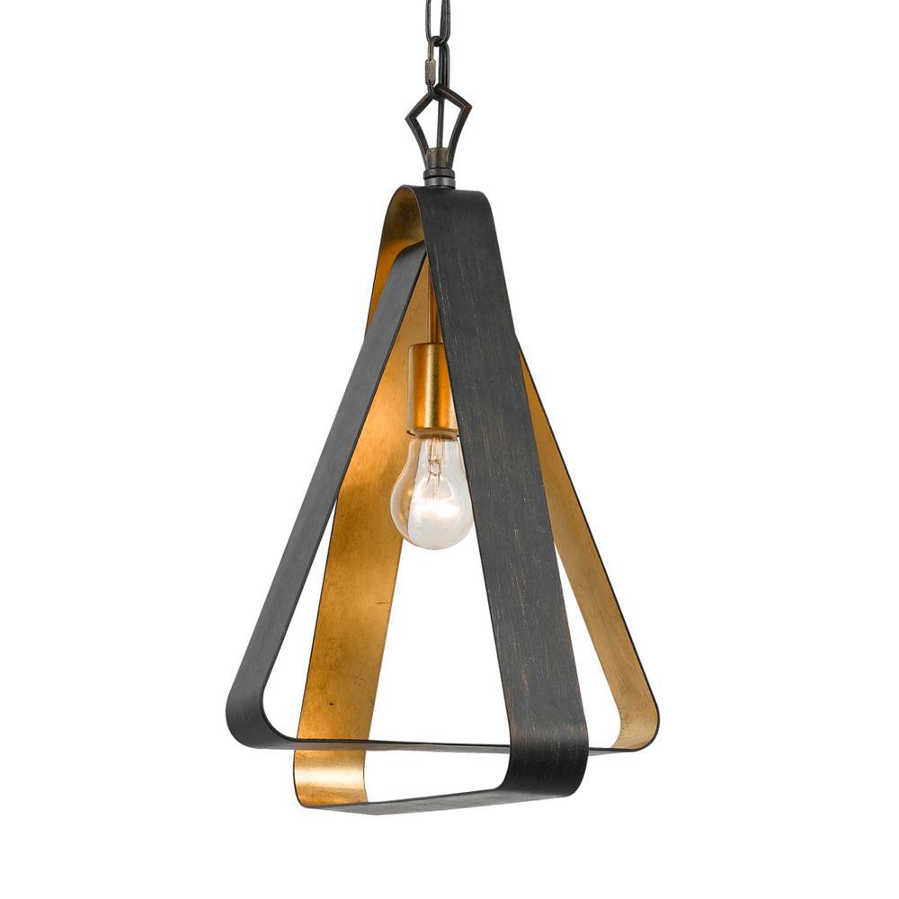 Luna 1-Light Bronze and Gold Mini Chandelier