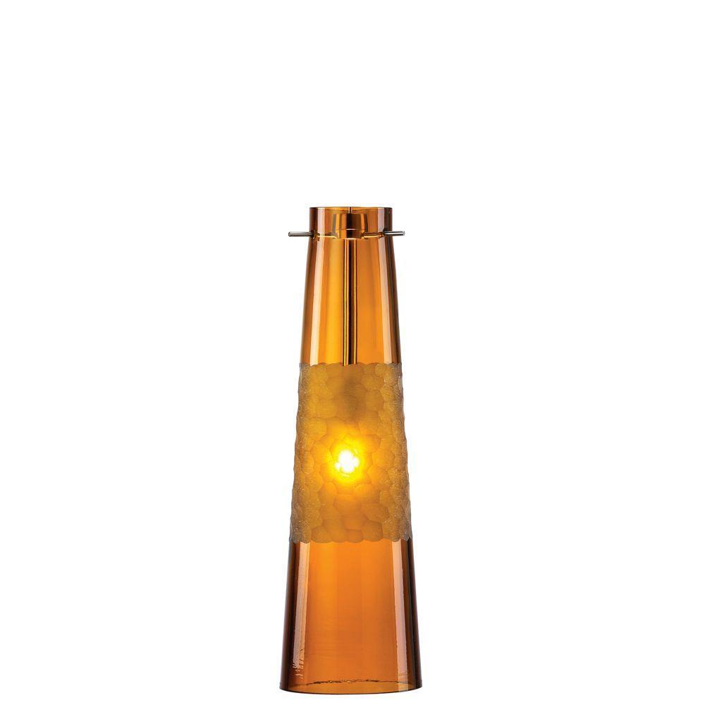 Bonn 1-Light Amber Satin Nickel Hanging Mini Pendant