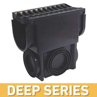 Deep Series Black Slim Drainage Pit and Catch Basin for Modular Trench and Channel Drain Systems