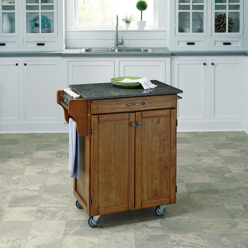 Awesome Home Styles Cuisine Cart Warm Oak Kitchen Cart With Quartz Top