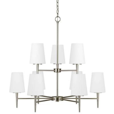 Driscoll 32 in. W 9-Light Brushed Nickel Multi Tier Chandelier with Etched White Glass Shades