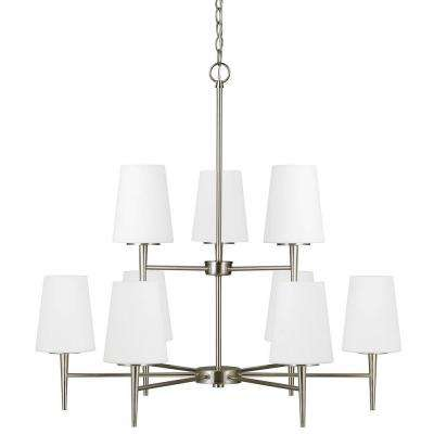 Driscoll 64 in. W. 9-Light Brushed Nickel Chandelier with Inside White Painted Etched Glass