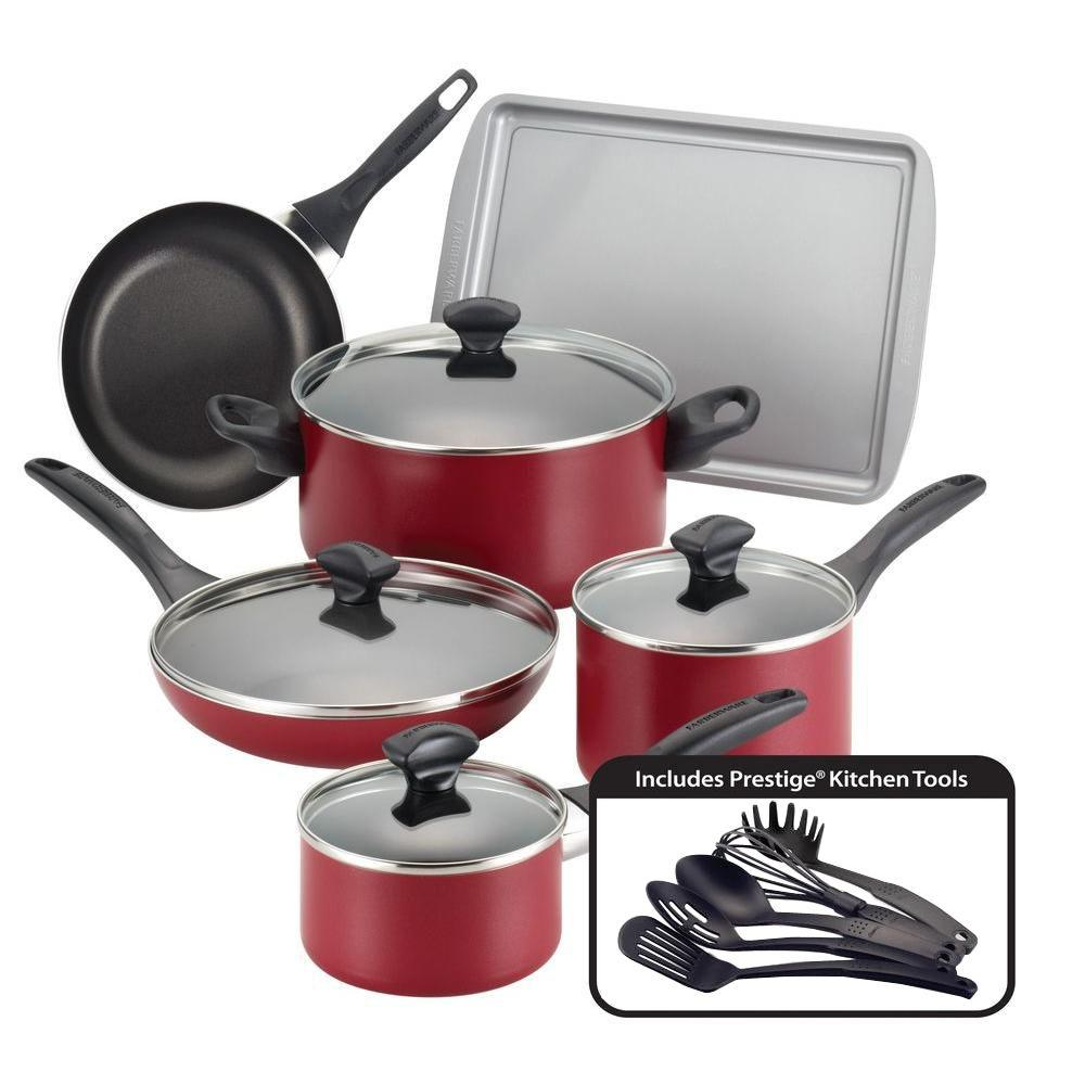Farberware 15-Piece Red Cookware Set with Lids-21807 - The ...