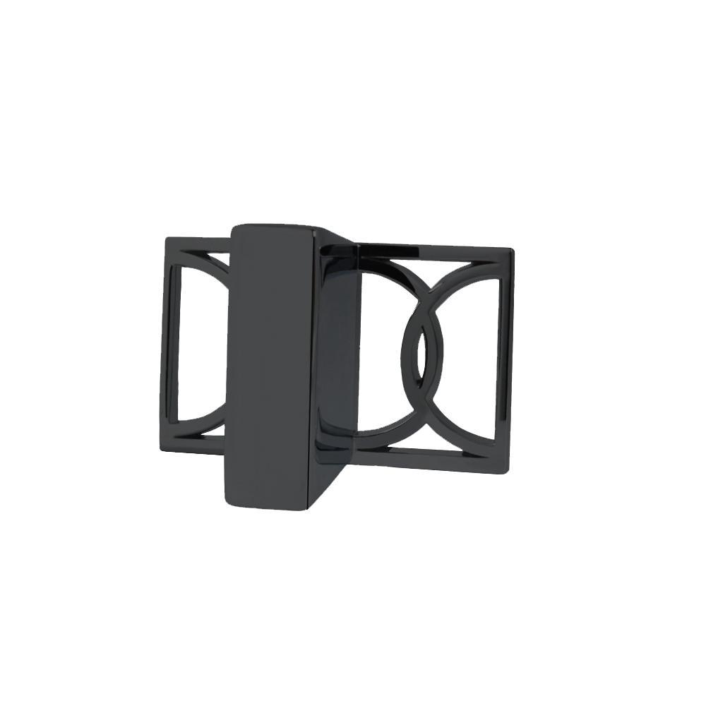 Symone 2-1/10 in. x 1-3/10 in. Black Nickel Cabinet Knob