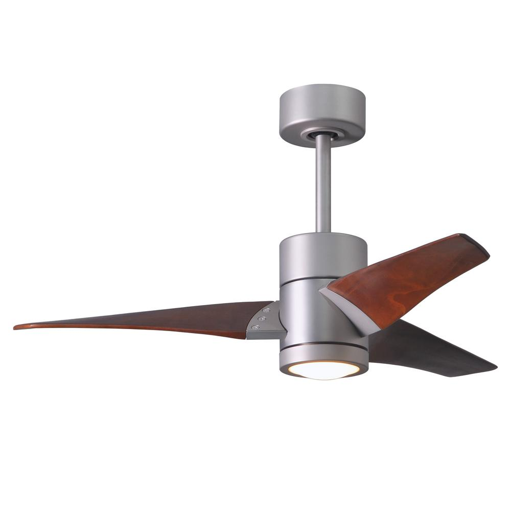 Super Janet 42 in. LED Indoor/Outdoor Damp Brushed Nickel Ceiling Fan with Light with Remote Control, Wall Control