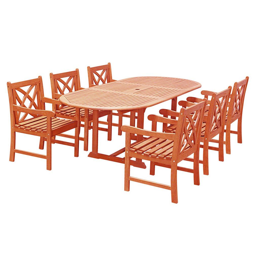 Eco-Friendly 7-Piece Wood Outdoor Dining Set Oval Extension Table and Arm