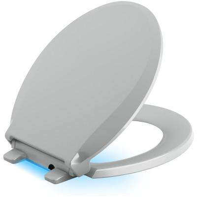 Cachet LED Nightlight Round Quiet Closed Front Toilet Seat in Ice Grey