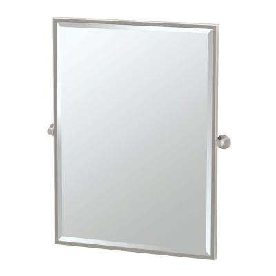 Channel 28 in. x 33 in. Framed Single Large Rectangle Mirror in Satin Nickel