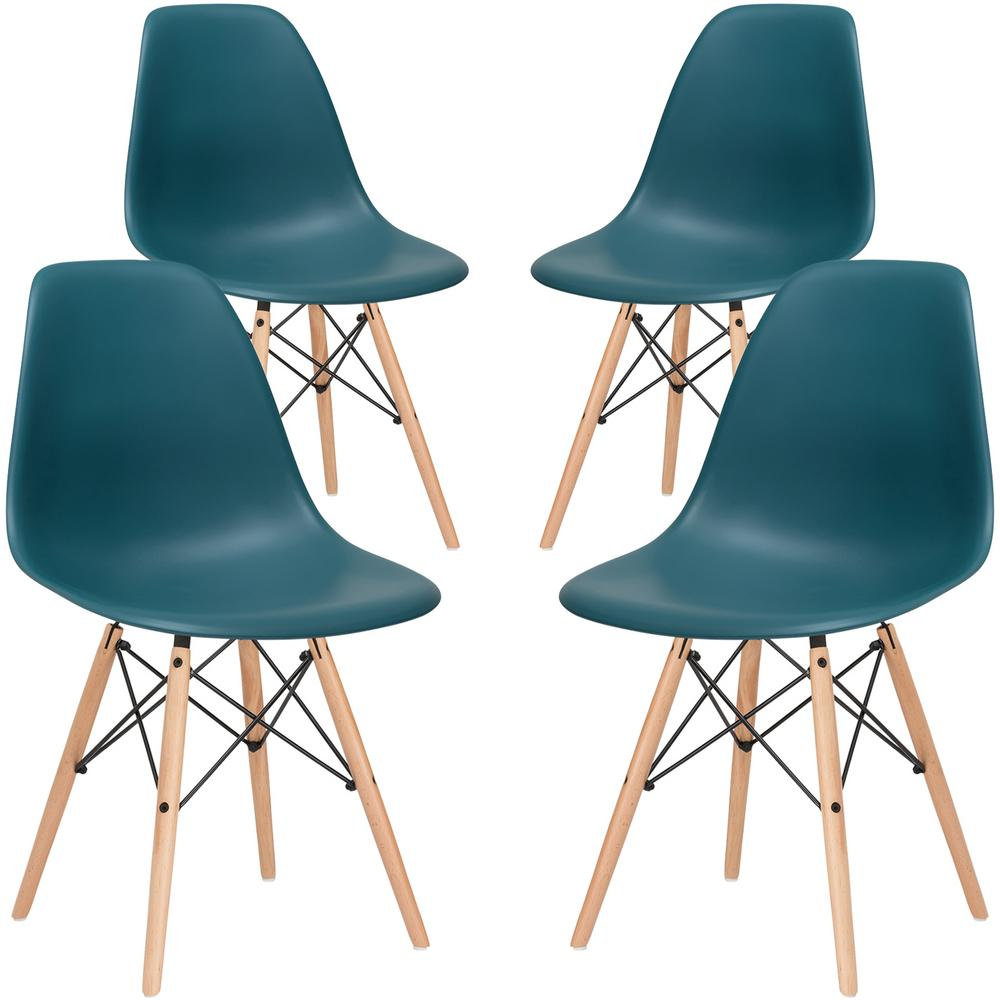 Poly And Bark Vortex Teal Side Chair With Natural Legs Set Of 4