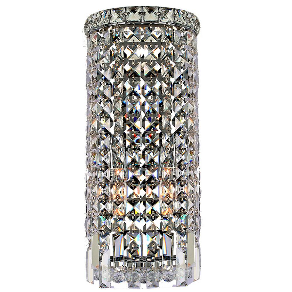 Worldwide Lighting Cascade Collection 2-Light Chrome Crystal Sconce