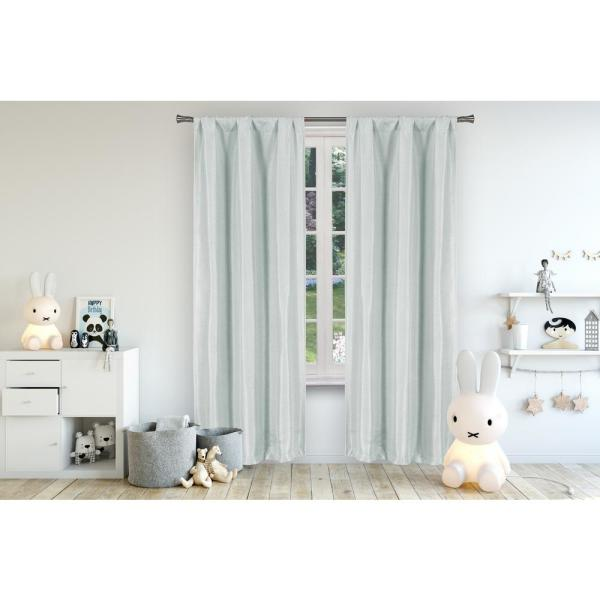 Miranda 37 in. x 84 in. L Polyester Blackout Curtain Panel in Seafoam (2-Pack)