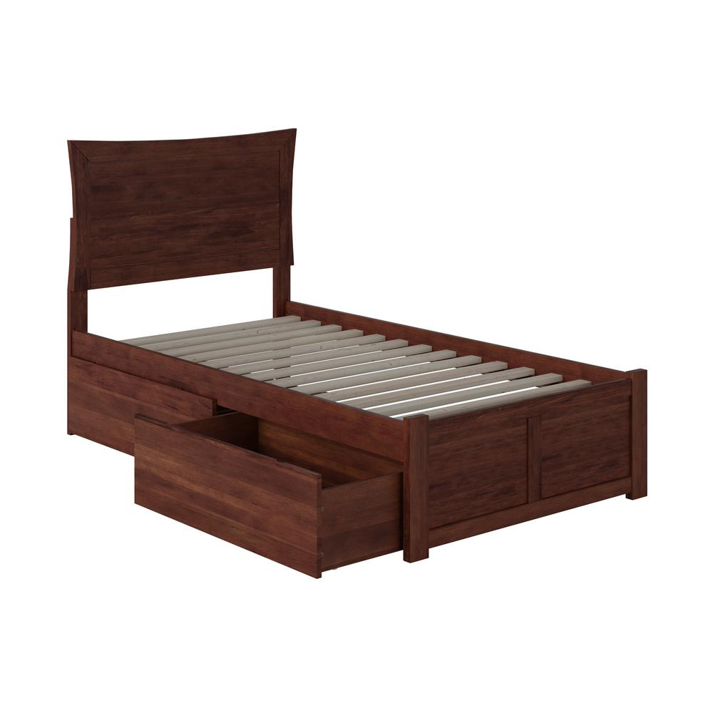 Metro Walnut Twin XL Platform Bed with Flat Panel Foot Board and 2-Urban Bed Drawers