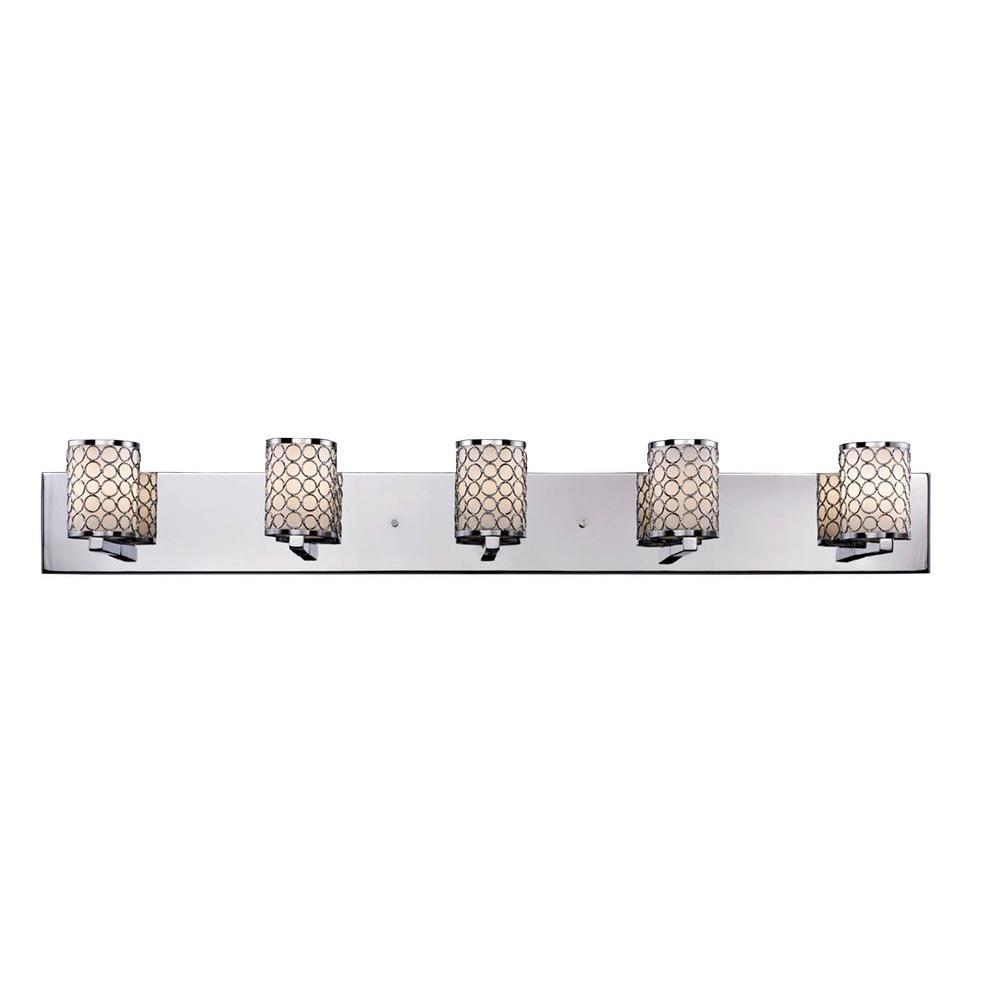 Filament Design Lawrence 5-Light Chrome and Matte Opal Halogen Bath Vanity Light