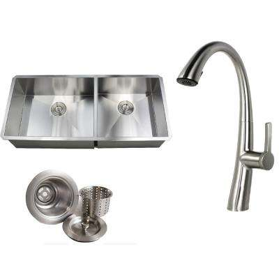 Undermount 42 in. x 19 in. x 10 in. Deep Stainless Steel 16-Gauge Double Bowl 60/40 Zero Radius Kitchen Sink Faucet