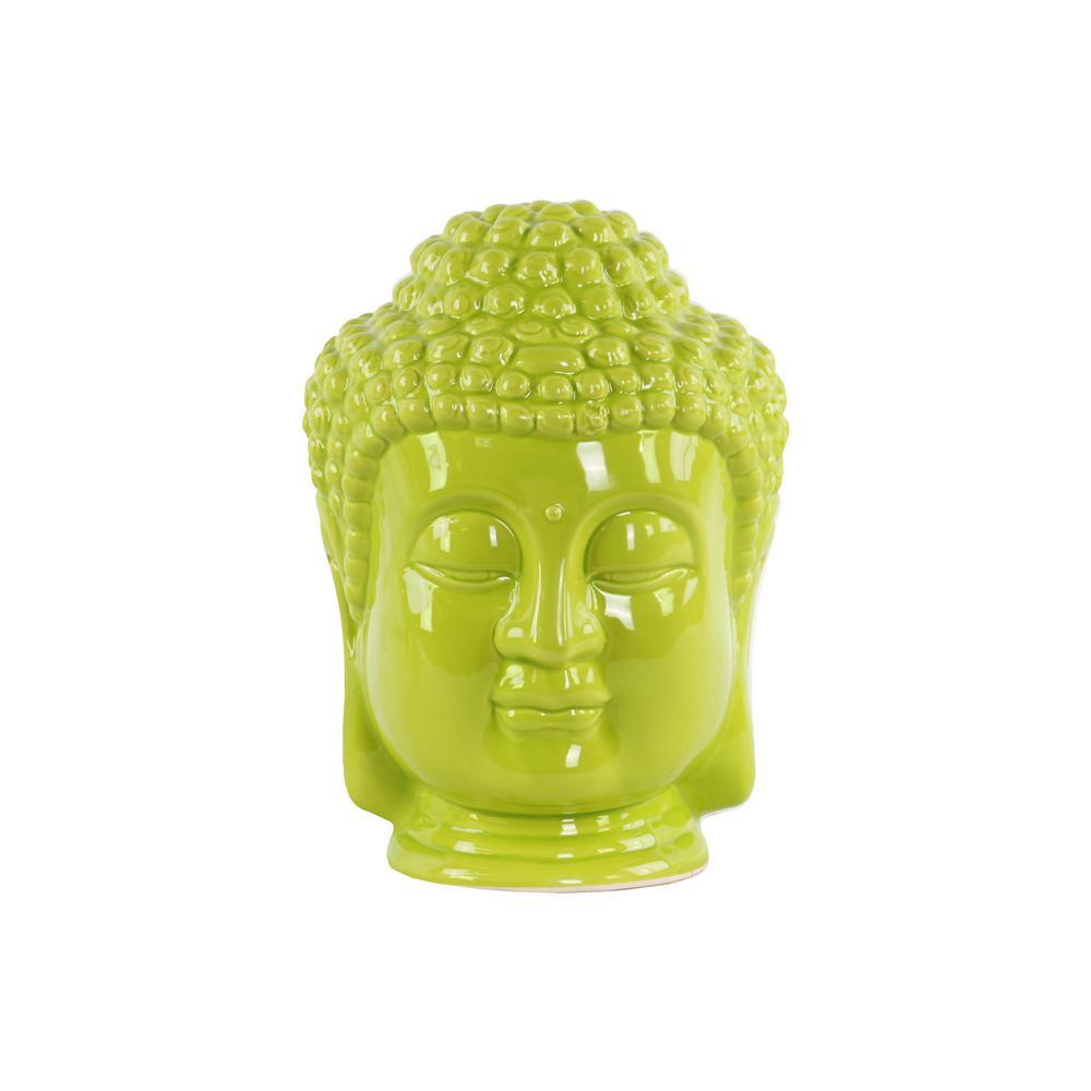 11 in. H Buddha Decorative Sculpture in Green Gloss Finish