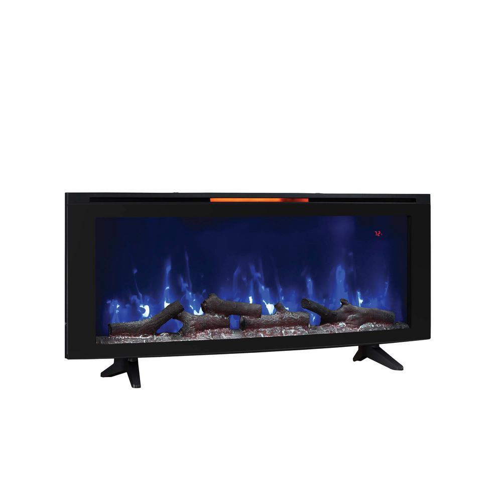 Luminosity 48 in. Wall-Mount Electric Fireplace in Black