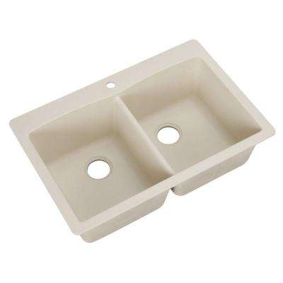 Diamond Dual Mount Granite Composite 33 in. 1-Hole Equal Double Bowl Kitchen Sink in Biscuit