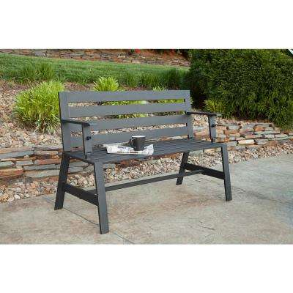 Metal Outdoor Cameron Convertible Bench