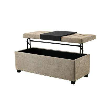 Rhodes Tan Functional Bench with Storage and Tray