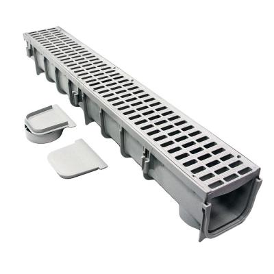 Pro Series 5 in. x 40 in. Channel Drain and Grate Kit with End Outlet