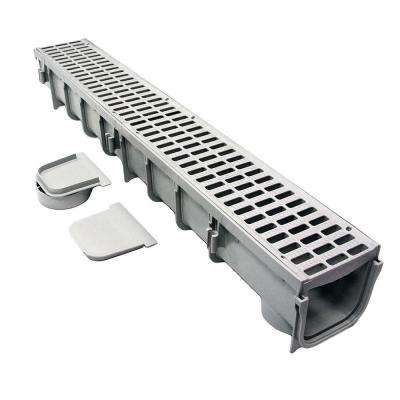 Pro Series 5 in. x 40 in. Channel and Grate Kit with End Outlet