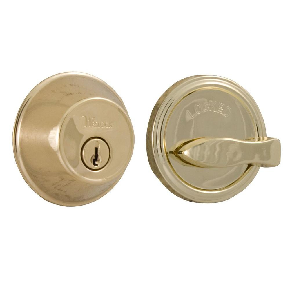 Essentials Lifetime Single Cylinder Polished Brass Deadbolt