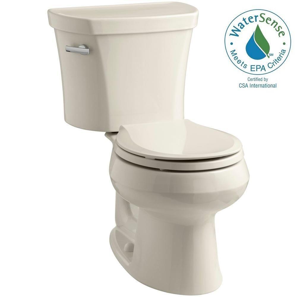 Wellworth 14 in. Rough-In 2-piece 1.28 GPF Single Flush Round Toilet in Almond