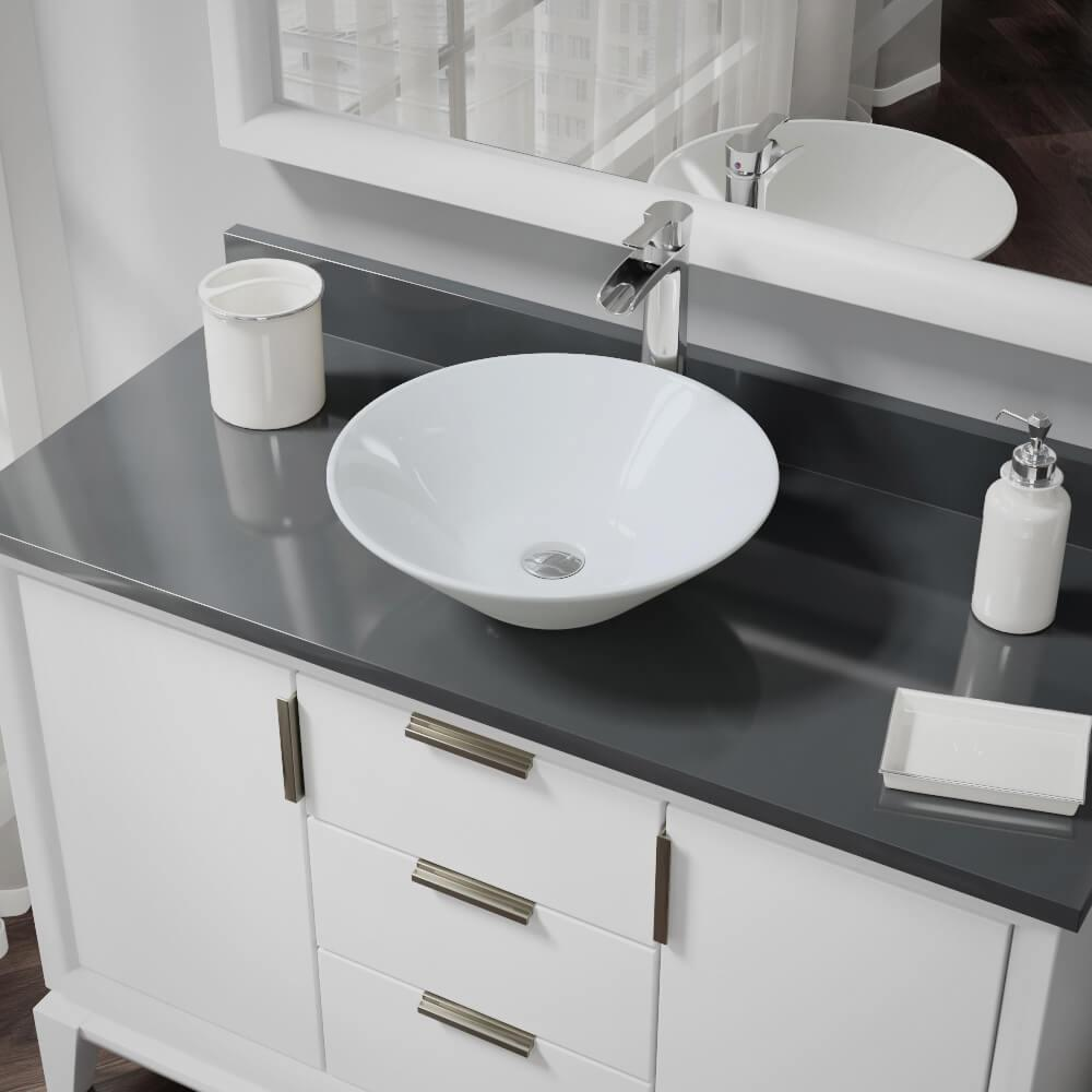 Rene Porcelain Vessel Sink in White with 7007 Faucet and Pop-Up Drain in Chrome