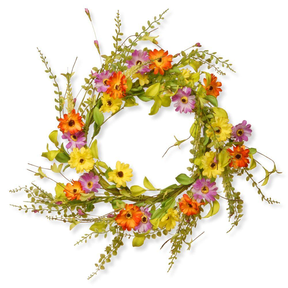20 in. Floral Wreath Decor - Orange/Yellow/Purples Flowers