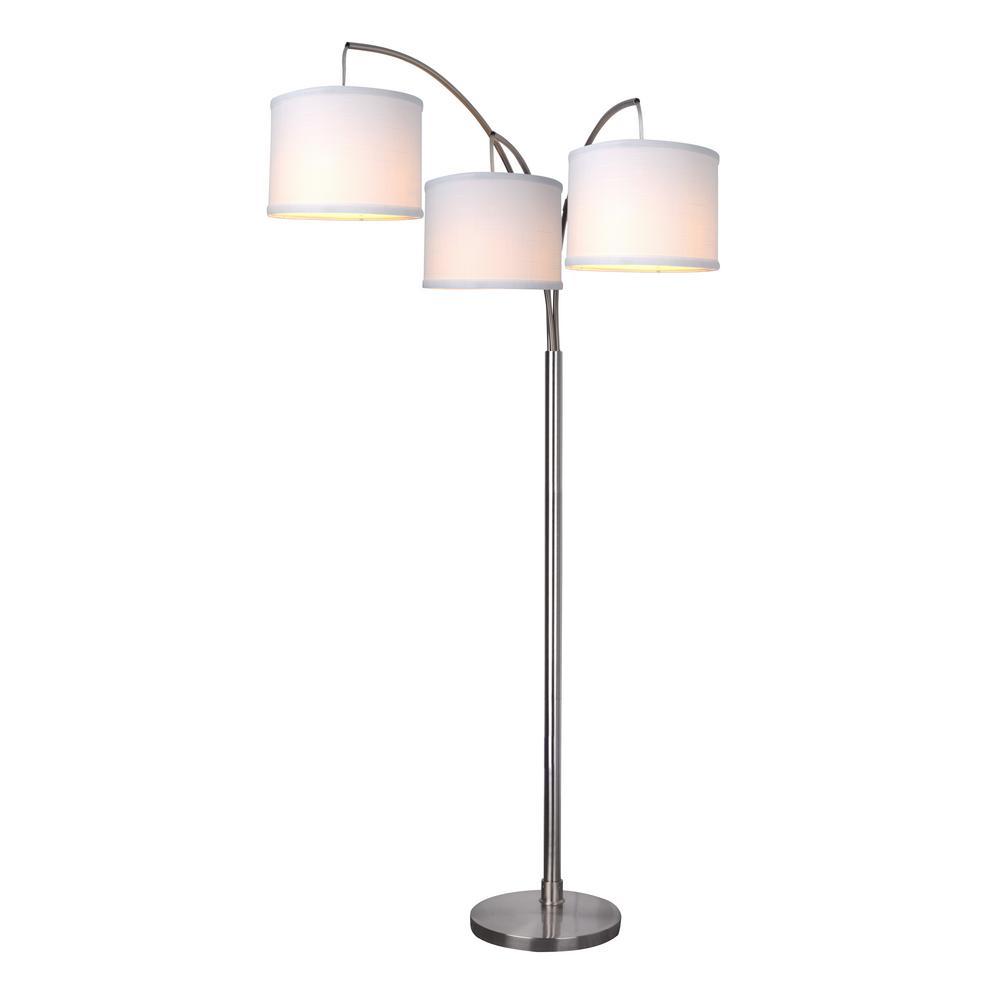 Hampton Bay Title 20 80 In 3 Arc Satin Floor Lamp