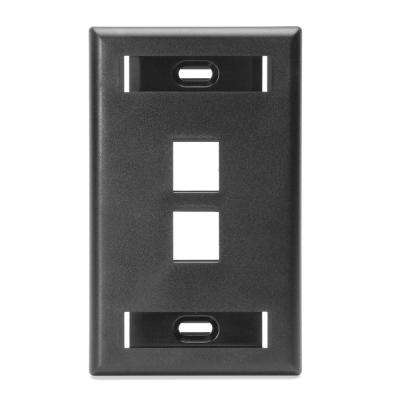 1-Gang QuickPort Standard Size 6-Port Wallplate with ID Windows, Black