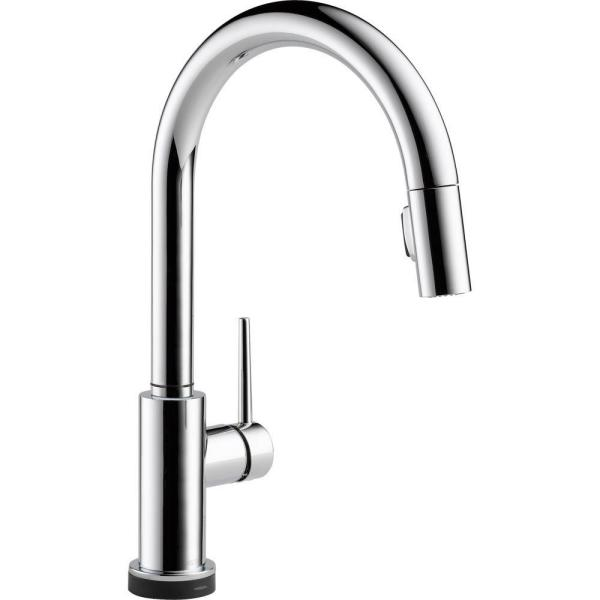 Delta Trinsic Single Handle Pull Down Sprayer Kitchen Faucet With Touch2o Technology In Chrome 9159t Dst The Home Depot