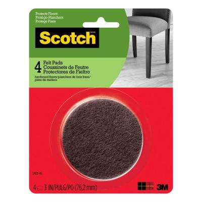3 in. Brown Round Surface Protection Felt Floor Pads ((4-Pack)(Case of 24))