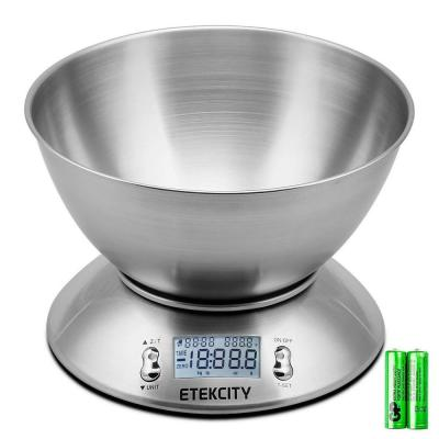 Etekcity EK4150 11 lb./5 kg Digital Kitchen Food Scale Stainless Steel Alarm Timer and Temperature Sensor