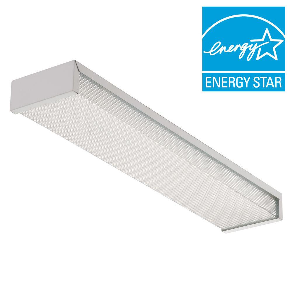Fluorescent Light Fixtures Home Depot: Lithonia Lighting 3324 2-Light White Fluorescent