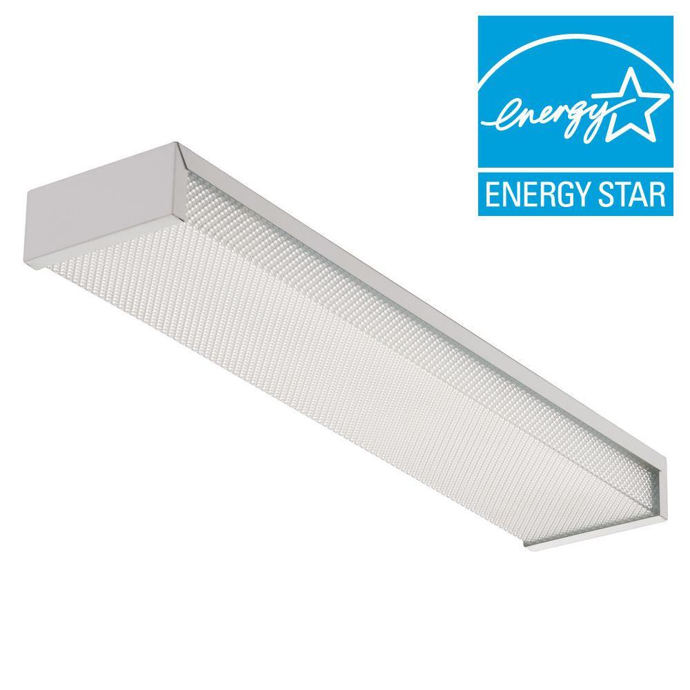 3324 2-Light White Fluorescent Flushmount Fixture