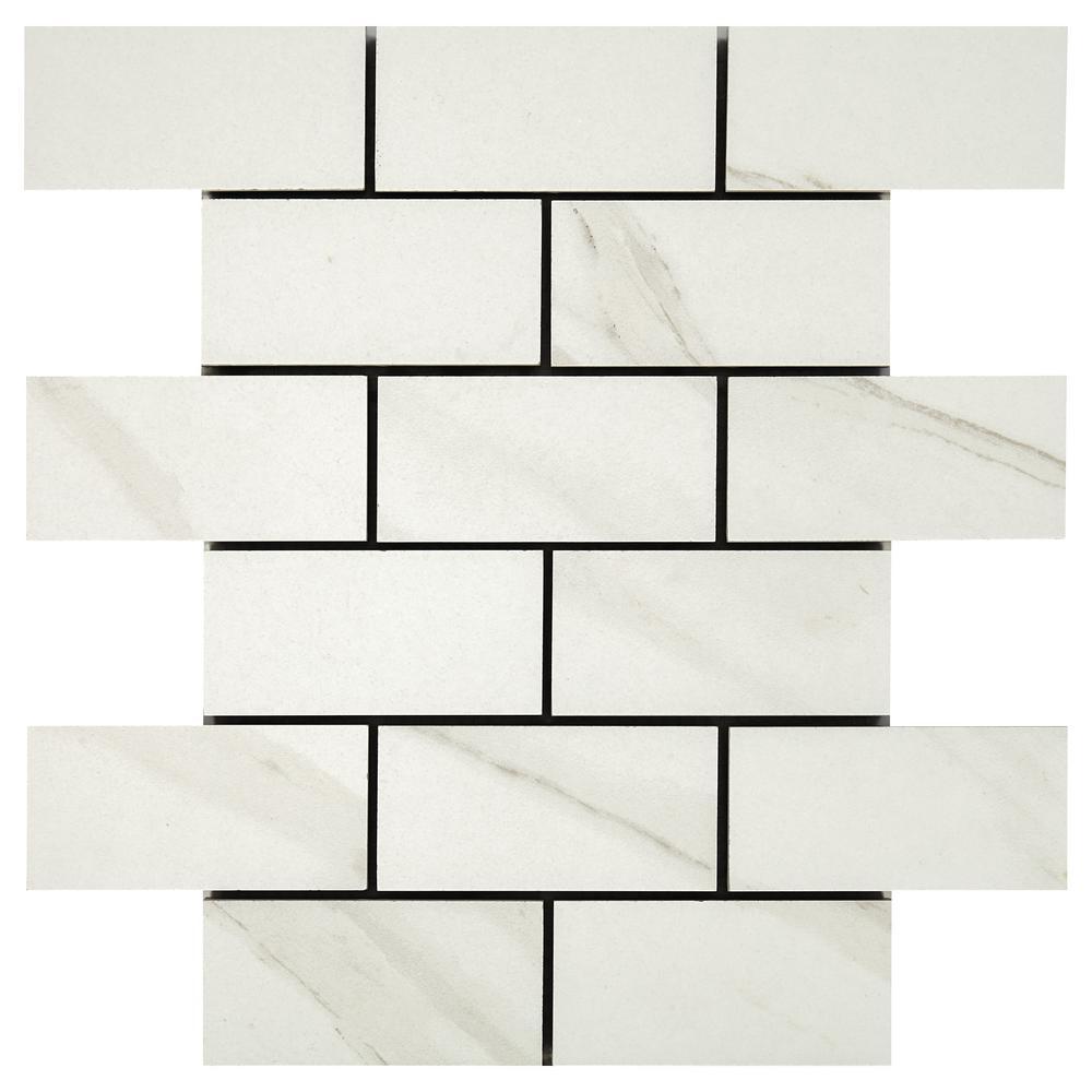 Selwyn Bianco Calacatta Brick Joint 12 in. x 12 in. x 6.35mm Glazed Ceramic Mosaic Wall Tile (0.83 sq. ft. / piece)