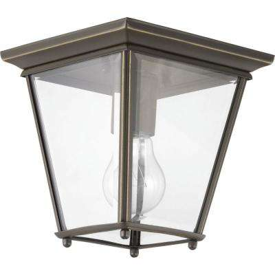 Burlington 1-Light Antique Bronze Outdoor Flushmount