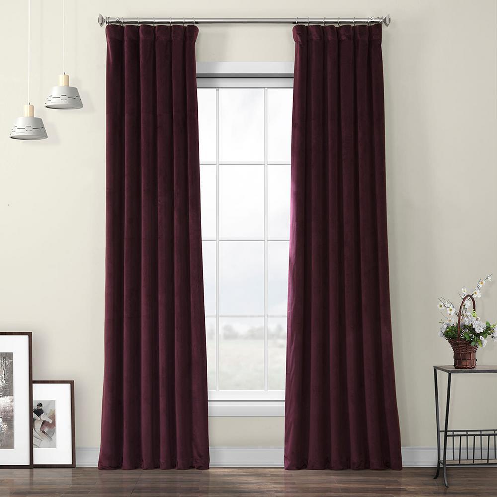 Winter Plum Red Heritage Room Darkening Plush Velvet Curtain - 50 in. W x 96 in. L