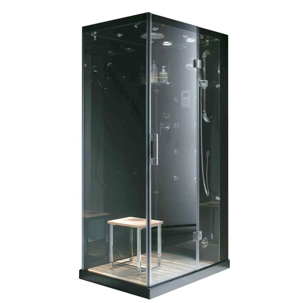 Steam Planet Jupiter Plus 31 inch x 43 inch x 86 inch Steam Shower Enclosure Kit in Black by Steam Planet