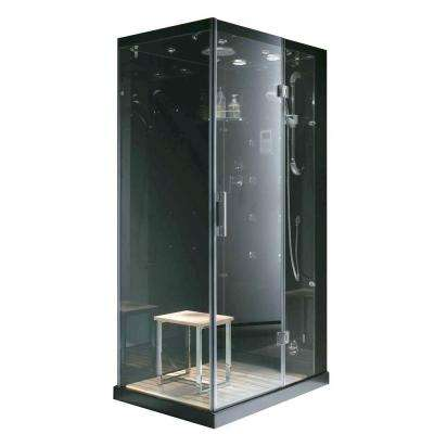 Jupiter Plus 31 in. x 43 in. x 86 in. Steam Shower Enclosure Kit in Black
