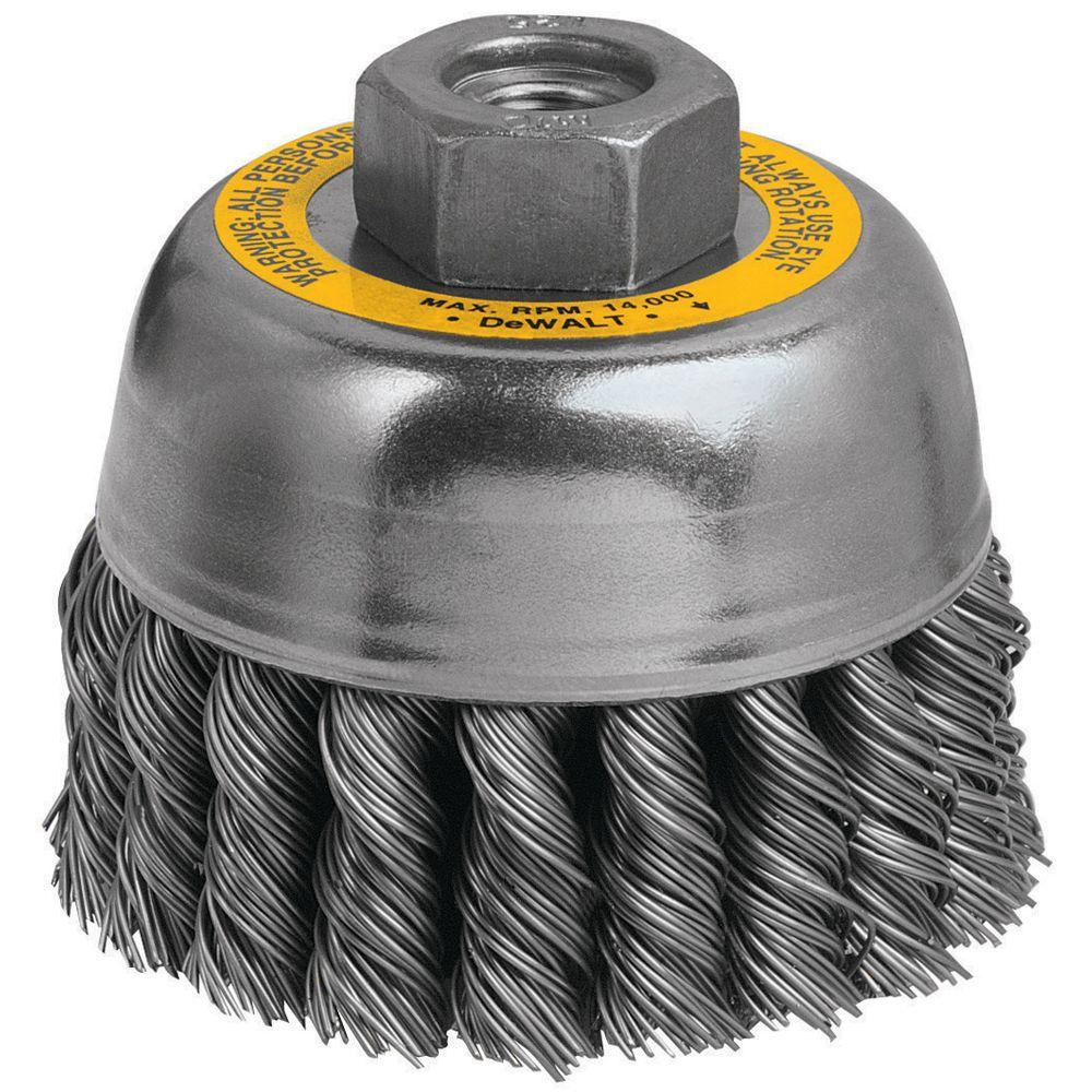 DEWALT 3 in. Knotted Cup Brush-DW4915 Y - The Home Depot